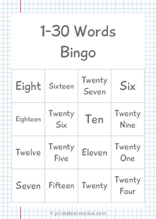 1-30 Words Bingo