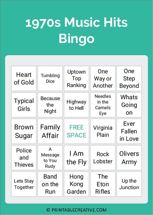 1970s Music Hits Bingo