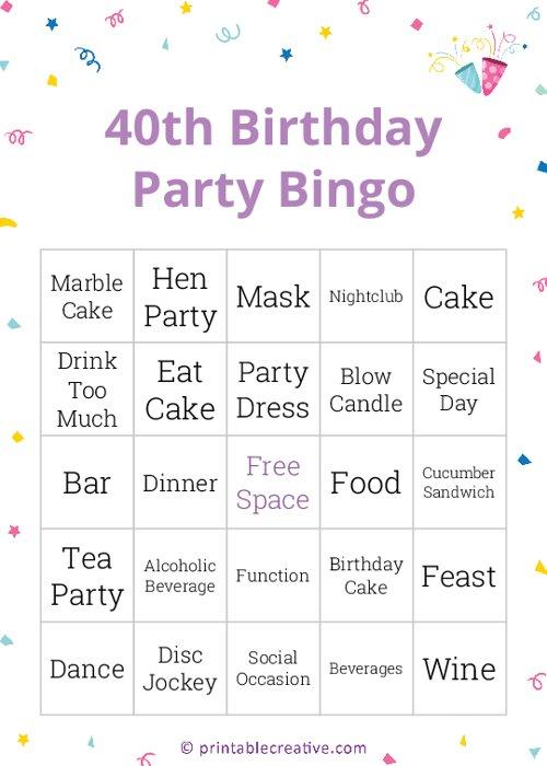 40th Birthday Party Bingo