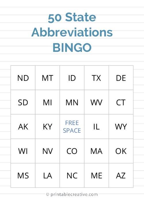 50 State Abbreviations | BINGO