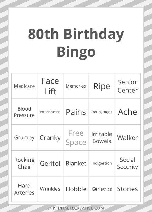80th Birthday Bingo