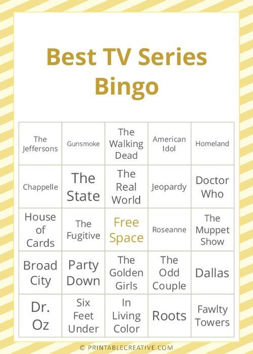 Best TV Series Bingo