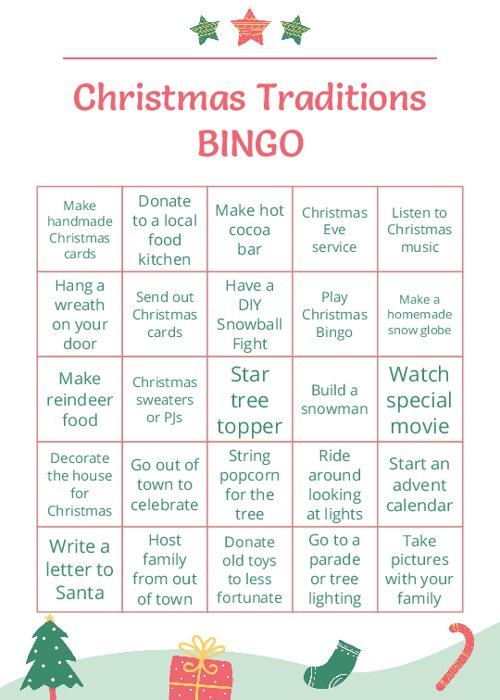 Christmas Traditions BINGO