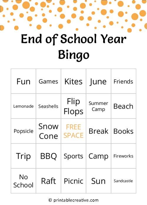 End of School Year Bingo
