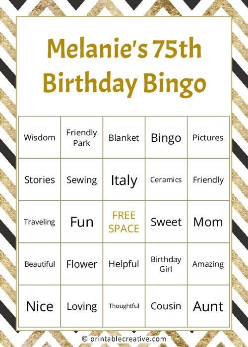 Melanies 75th Birthday Bingo