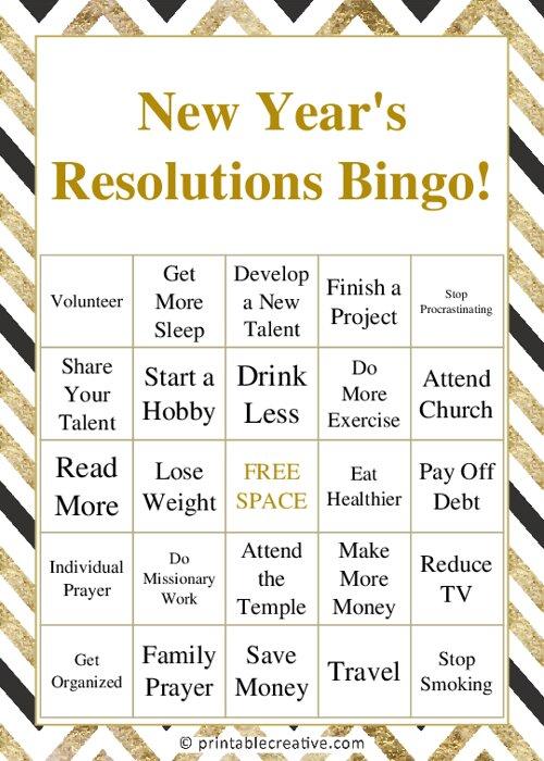 New Years Resolutions Bingo!