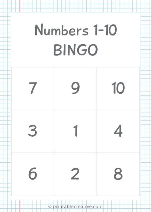 Numbers 1-10 BINGO