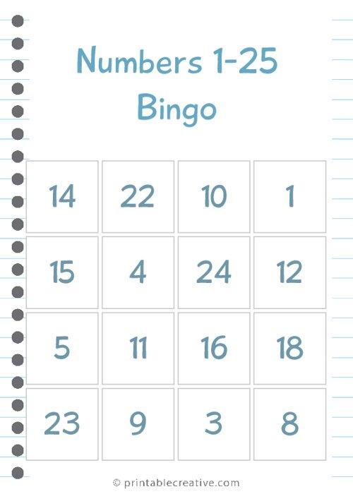 Numbers 1-25 Bingo