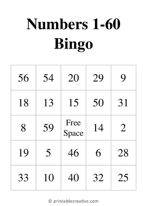 Numbers 1-60 Bingo