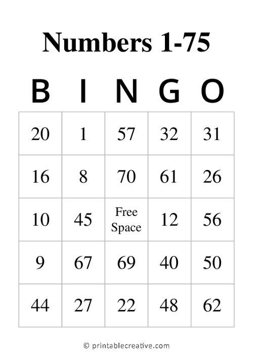 Numbers 1-75 BINGO