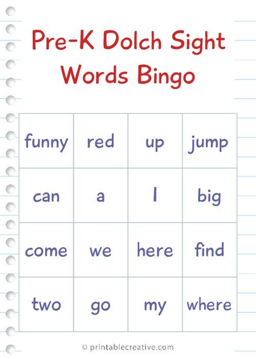 Pre-K Dolch Sight Words Bingo