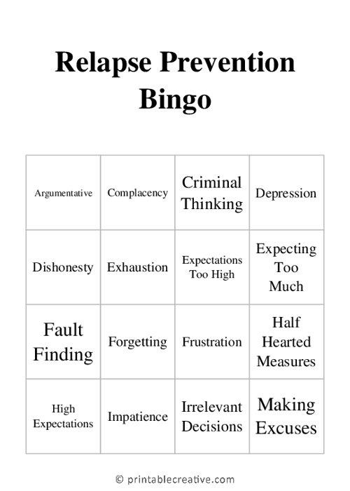 Relapse Prevention Bingo