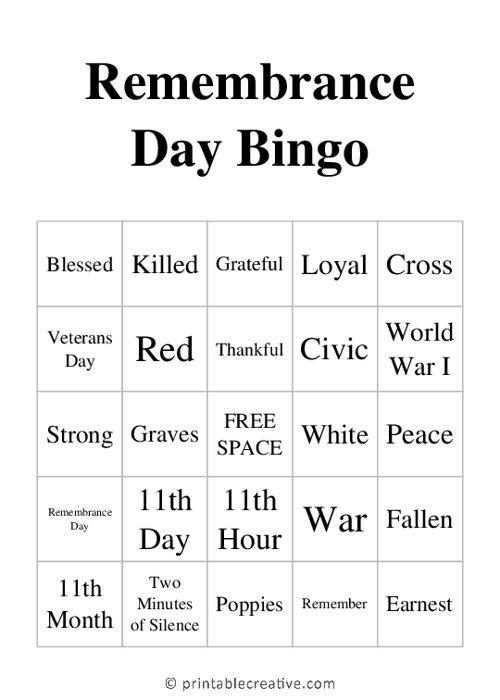 Remembrance Day Bingo