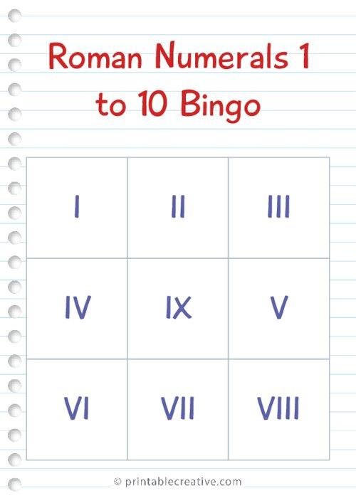 Roman Numerals 1 to 10 Bingo