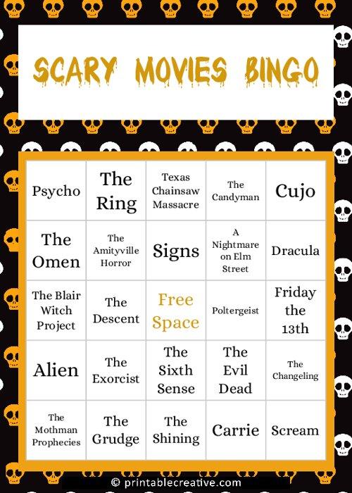 Scary Movies Bingo