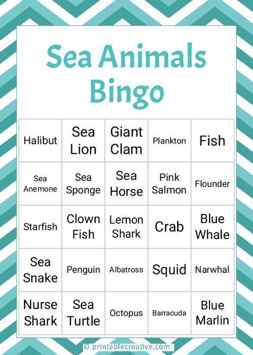 Sea Animals Bingo
