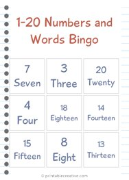 1-20 Numbers and Words Bingo