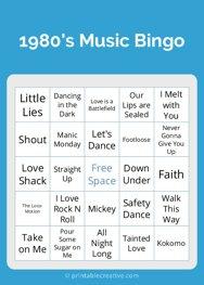 1980s Music Bingo