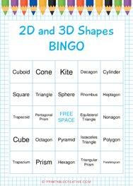 2D and 3D Shapes | BINGO