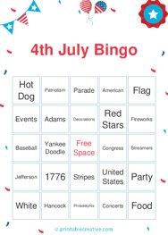 4th July Bingo