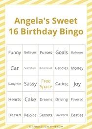 Angelas Sweet 16 Birthday Bingo