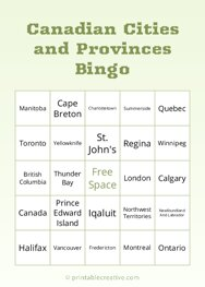 Canadian Cities and Provinces Bingo