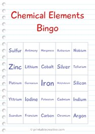 Chemical Elements Bingo