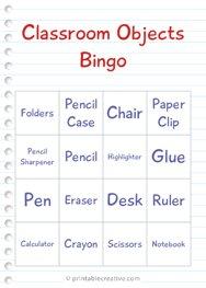 Classroom Objects Bingo