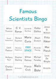 Famous Scientists Bingo