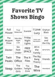 Favorite TV Shows Bingo