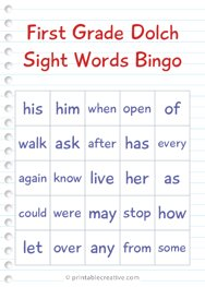 First Grade Dolch Sight Words Bingo