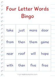 Four Letter Words Bingo