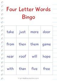 Four Letter Words Bingo