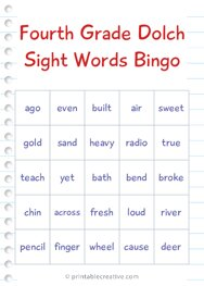 Fourth Grade Dolch Sight Words Bingo