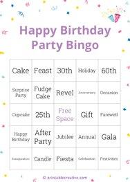 Happy Birthday Party Bingo