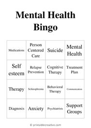 Mental Health Bingo