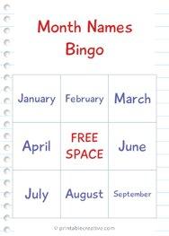 Month Names Bingo