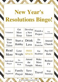 New Years Resolutions Bingo!