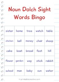 Noun Dolch Sight Words Bingo