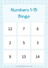 Numbers 1-15 Bingo