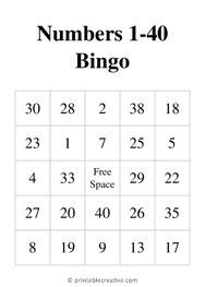 Numbers 1-40 Bingo