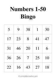 Numbers 1-50 Bingo