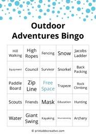 Outdoor Adventures Bingo