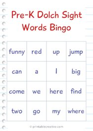 Pre-K Dolch Sight Words Bingo