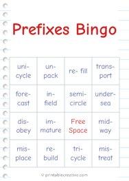 Prefixes Bingo