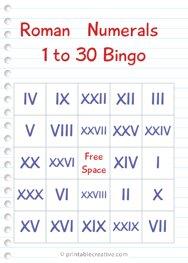 Roman Numerals 1 to 30 Bingo