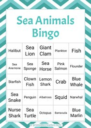 Sea Animals Bingo