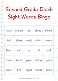 Second Grade Dolch Sight Words Bingo