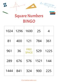 Square Numbers|BINGO