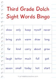 Third Grade Dolch Sight Words Bingo